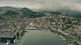 riverbank : Aerial establishing shot of Lucerne and the River Reuss. Switzerland