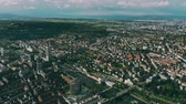 suburbano : Aerial view of Zurich and the River Limmat, Switzerland Stock Footage