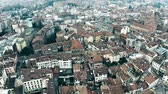 rooftop : Aerial view of residential houses in Treviso, Italy Stock Footage