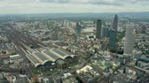 am : Aerial view of the central railway station of Frankfurt am Main, Germany Stock Footage
