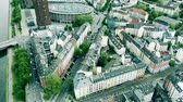 trafik : Aerial view of streets of Frankfurt am Main, Germany Stok Video
