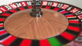 сектор : Casino roulette wheel ball hits 22 twenty-two black. 3D animation