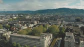 overview : Aerial view of Zurich cityscape and railroad, Switzerland Stock Footage