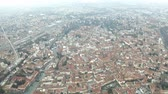 венето : Aerial view of Treviso and the River Sile, Italy Стоковые видеозаписи
