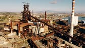 ferrugem : Aerial view of rusty equipment of an obsolete industrial area