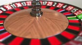 olasılık : Casino roulette wheel ball hits 16 sixteen red. 3D animation