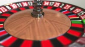 olasılık : Casino roulette wheel ball hits 33 thirty-three black. 3D animation