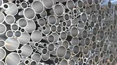 cső : Big pile of steel pipes, loopable 3D animation