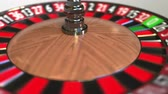 olasılık : Casino roulette wheel ball hits 5 five red. 3D animation