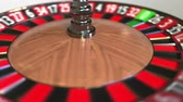 сектор : Casino roulette wheel ball hits 23 twenty-three red. 3D animation Стоковые видеозаписи