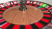 olasılık : Casino roulette wheel ball hits 10 ten black. 3D animation Stok Video