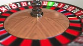 olasılık : Casino roulette wheel ball hits 11 eleven black. 3D animation