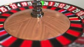 olasılık : Casino roulette wheel ball hits 13 thirteen black. 3D animation