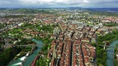 ziegeldach : Flight over Altstadt, historic part of Bern, the capital of Switzerland Stock Footage