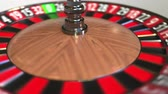 olasılık : Casino roulette wheel ball hits 34 thirty-four red. 3D animation Stok Video