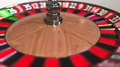 olasılık : Casino roulette wheel ball hits 21 twenty-one red. 3D animation Stok Video