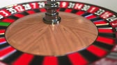 olasılık : Casino roulette wheel ball hits 19 nineteen red. 3D animation Stok Video