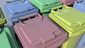 分離 : Multicolor trash containers close-up. Loopable animation 動画素材