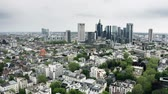 high rise buildings : Aerial view of skyscrapers in the city centre of Frankfurt am Main, Germany