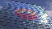 yansıtıcı : Logo of PETROCHINA on a media facade with reflecting cloudy sky, editorial animation Stok Video