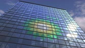 средства массовой информации : BP logo on modern building reflecting sky and clouds, editorial animation