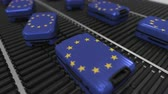 manuseio : Many travel suitcases featuring flag of the European Union. EU tourism conceptual animation
