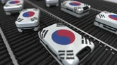 emigration : Many travel suitcases featuring flag of South Korea. Korean tourism conceptual animation