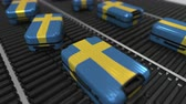 manuseio : Many travel suitcases featuring flag of Sweden on roller conveyer. Swedish tourism conceptual animation Vídeos