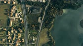 umbrie : Aerial top down shot of industrial area, river and highway in Umbria, Italy