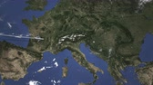 chorwacja : Route of a commercial plane flying to Zagreb, Croatia on the map. Intro 3D animation