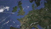flight ticket : Airplane flying to Dortmund, Germany on the map. Intro 3D animation
