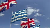 negotiation : Many flags of Greece and the United Kingdom, loopable 3D animation