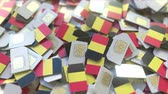 belga : Many SIM cards with flag of Belgium, Belgian mobile telecommunications related 3D animation