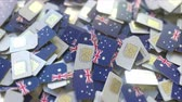 numero telefono : Pile of SIM cards with flag of Australia. Australian mobile telecommunications related conceptual 3D animation