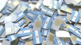 telecomunicações : SIM cards with flag of Argentina. Argentinean cellular network related conceptual 3D animation