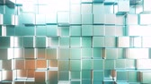 cyan : Smooth metallic square bars, loopable 3D animation
