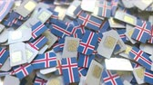 telekomünikasyon : SIM cards with flag of Iceland. Icelandic cellular network related conceptual 3D animation