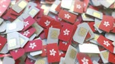 coverage : SIM cards with flag of Hong Kong. Cellular network related conceptual 3D animation