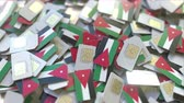 jordanian : Many SIM cards with flag of Jordan, Jordanian mobile telecommunications related 3D animation