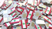coverage : Multiple SIM cards with flag of Lebanon. Lebanese mobile telecommunications conceptual 3D animation