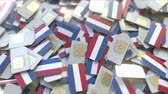 オランダ : Multiple SIM cards with flag of the Netherlands. Dutch mobile telecommunications conceptual 3D animation