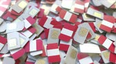 hücresel : Pile of SIM cards with flag of Peru. Peruvian mobile telecommunications related conceptual 3D animation Stok Video