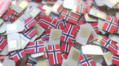 норвежский : SIM cards with flag of Norway. Norwegian cellular network related conceptual 3D animation Стоковые видеозаписи