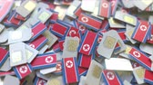 telecomunicações : SIM cards with flag of North Korea. Korean cellular network related conceptual 3D animation