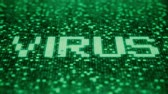 warning : Flashing symbols on a green computer screen compose VIRUS word. Loopable 3D animation
