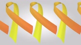 病気 : Leukemia awareness orange ribbons. Loopable motion background