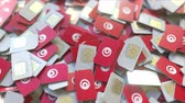 tunisian flag : SIM cards with flag of Tunisia. Tunisian cellular network related conceptual 3D animation Stock Footage