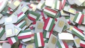 hungria bandera : Multiple SIM cards with flag of Hungary. Hungarian mobile telecommunications conceptual 3D animation