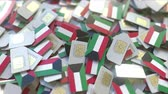 numero telefono : SIM cards with flag of Kuwait. Kuwaiti cellular network related conceptual 3D animation Filmati Stock