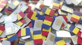 coverage : Multiple SIM cards with flag of Romania. Romanain mobile telecommunications conceptual 3D animation